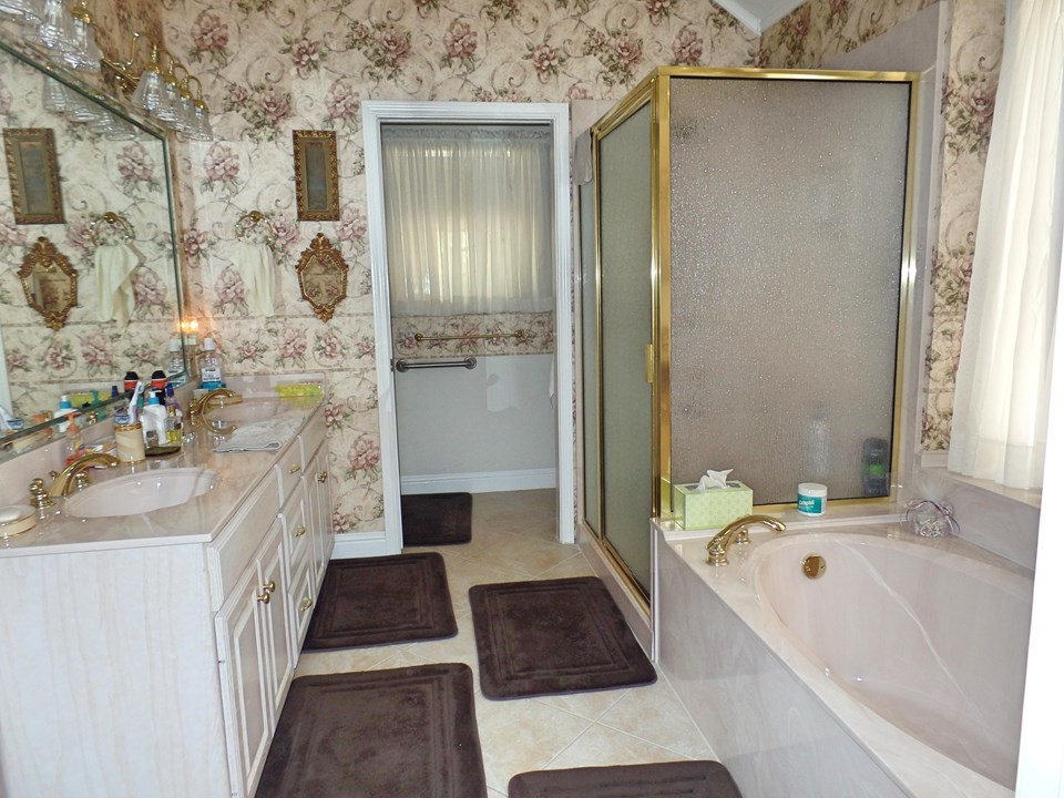 master bath with walk-in shower, separate tub, water closet